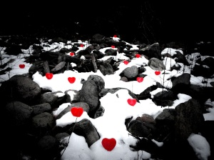 Melting Ice Hearts by the River